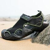 Men Mesh Fabric Non Slip Hook Loop Closed Toe Casual Beach Sandals