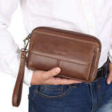 Men Genuine Leather Retro Casual Long Wallet Card Bag Clutch Bag