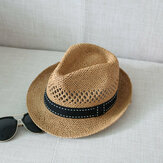 Men Women Summer Straw Knited Sunscreen Jazz Hat Outdoor Casual Travel Sea Hat