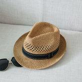 Hommes femmes été paille tricoté crème solaire Jazz chapeau en plein air voyage occasionnel chapeau de mer