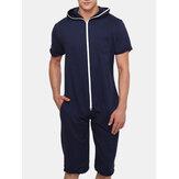 Men Solid Color Hooded Pocket Short Sleeve Home Jumpsuit Zipper Sleepwear