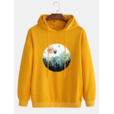 Cotton Mens Casual Art Illustration Landscape Printed Dropped Shoulder Long Sleeve Drawstring Hoodies