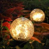 Crackle em forma de bola LED luzes solares luz do gramado decoração do jardim lâmpada de terra ao ar livre de natal