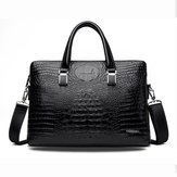 Men Business Alligator Faux Leather Handbags Crossbody Bags
