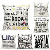 43x43cm English Letter Fashion Cotton Linen Pillow Case Home Sofa Seat Bed Car Cushion Decor