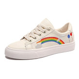 Mulheres Low Top Rainbow Comfy Wearable Casual Flat Court Sneakers