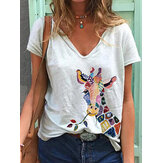 Cartoon Giraffe Animal Print V-neck Short Sleeve Loose T-shirts For Women
