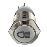 12V 19mm Metal plateado LED Botón pulsador ON OFF Indicador luminoso del interruptor de enclavamiento