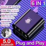 K8 6 In 1 Bluetooth 5.0 audio receiver transmitter 2-in-1 Bluetooth adapter supports 2.1A fast charge U disk playback