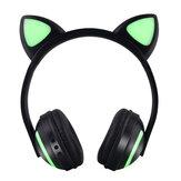 Fone de ouvido sem fio bluetooth 5.0 LED Colorful Orelhas de carro Fone de ouvido de música bonito Fone de ouvido estéreo com microfone