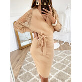 Solid Color Wrap Design Langarm Bodycon Knit Midi Kleid