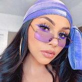 Women Retro Multi-color Framelss Small Square Fashion Personality UV Protection Sunglasses