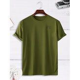 Homens Casual Loose Solid Color Letter Crew Neck T-Shirts