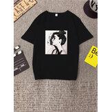 Camiseta estampada básica básica personalizada con manga corta para mujer