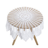 White Vintage Crochet Cotton Lace Tablecloth Round Table Cloth Cover 90cm Floral Table Cloth Home House Supplies