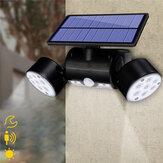 30LED Solar Power PIR Motion Sensor Luz de parede Cabeça dupla ajustável Spot Spot Lamp
