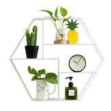 Hexagonal Metal Shelf Bracket Wall Mounted Cabinet Display Storage Rack Home Decor