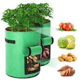 Paquete de 2 macetas de tela para macetas de 10 galones, tela transpirable de primera calidad Bolsa para contenedor de plantas de papa