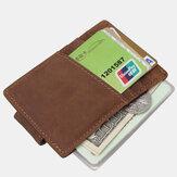 Männer Echtes Leder Erste Schicht Retro Multi Kartensteckplatz Praktische Geldklammer Leder Kartenhalter Brieftasche