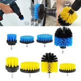 4pcs 2 / 3.5 / 4/5 pouces brosse de forage électrique jaune / bleu outil de brosse de nettoyage pour tapis de baignoire