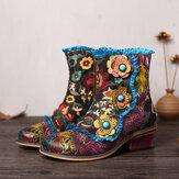 SOCOFY ريترو مرسومة باليد جلد طبيعي الزهور الزرقاء الرباط زيبر شقة أحذية قصيرة