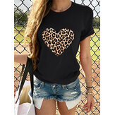 Leopard Print Love Print Round Neck Causal T-shirts For Women