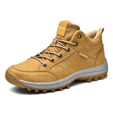 Men Microfiber Leather Outdoor Slip Resistant Casual Hiking Shoes