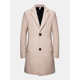 Mens Letter Back Print Single-Breasted Mid-Length Business Pocket Trench Coats