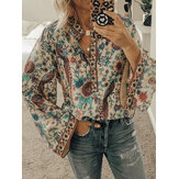 Ethnic Floral Print V Neck Long Sleeved Bohemian Shirts For Women