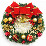 30cm Christmas Garland Arrangement Ornament Wreath Decor Wreath Bow Bell for 2020 Christmas New Year Festival Decoration