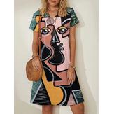Kobiety abstrakcyjne figury z nadrukiem twarzy z dekoltem w szpic Casual sukienki midi z krótkim rękawem
