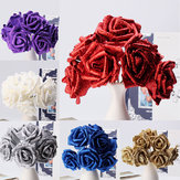 7Pcs Kunstmatig Boeket Glitter Foam Kunstbloemen Bruiloft Bruidsfeest Decor DIY Rose