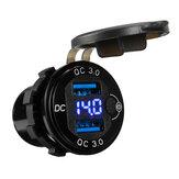 QC3.0 Dual USB зарядное устройство для быстрой зарядки Разъем розетка с напряжением Дисплей для Авто грузовик Лодка яхта Водонепроницаемы