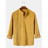 Camisas masculinas de veludo cotelê com gola lisa de manga longa Henley