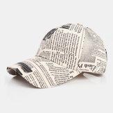 Unisex Eski Gazete Desen Pamuk Geniş Ağız Güneş Kremi Siperliği Moda Rahat Beyzbol Şapka