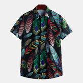 Erkek Yaz Hawaii Günlük Moda Yaprak Baskı Gömlek