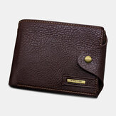 Men PU Leather Trifold Hasp Large Capacity Retro Casual Card Holder Coin Wallet