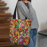 Женская фетровая разноцветная мультяшная фигура с принтом на плечо Сумка Tote
