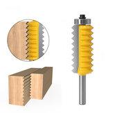 Broca de roteador de junta em V multi-dente com haste de 8 mm para cortador de ranhura de cone de espiga de madeira Cortador de emenda ondulada