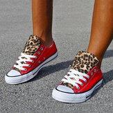 Zapatos de lona casuales transpirables con estampado de leopardo en bloques de color para mujer