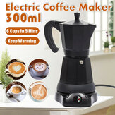 300ml Electric Coffee Pot 6 Cups Mocha Italian Espresso Aluminum Coffee Maker