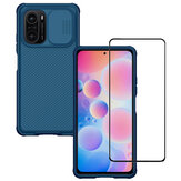 For POCO F3 Global Version Accessories Set Bakeey 5D Curved Edge Full Coverage Anti-Explosion Tempered Glass Screen Protector + Nillkin with Lens Cover Shockproof Anti-Scratch Protective Case