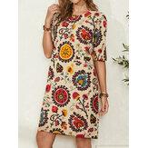 Ethnic Style Print Round Neck Bohemia Casual Midi Dress For Women
