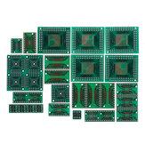 90 piezas Kit de placa PCB SMD a su vez a adaptador DIP placa convertidora FQFP 32 44 64 80100 HTQFP QFN48 SOP SSOP TSSOP 8 16 24 28