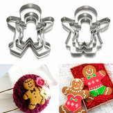 3pcs Christmas Gingerbread Man Cookie Cutter Roestvrij Staal Biscuit Mould