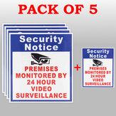 5X Geschützten Räumlichkeiten von 24 Stunden Videoüberwachung Zeichen Aufkleber Überwachungskamera