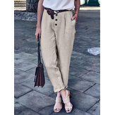 Pure Color Button Loose Cotton Casual Harem Pants dla kobiet