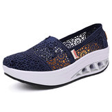 Slip On Zapatillas de Plataforma de Encaje Hollow Out Casual
