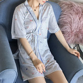 Women Short Sleeve Open Pocket Two Pieces Sleepwear