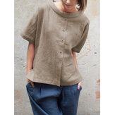 Vintage Round Neck Short Sleeve Button Cotton Blouse